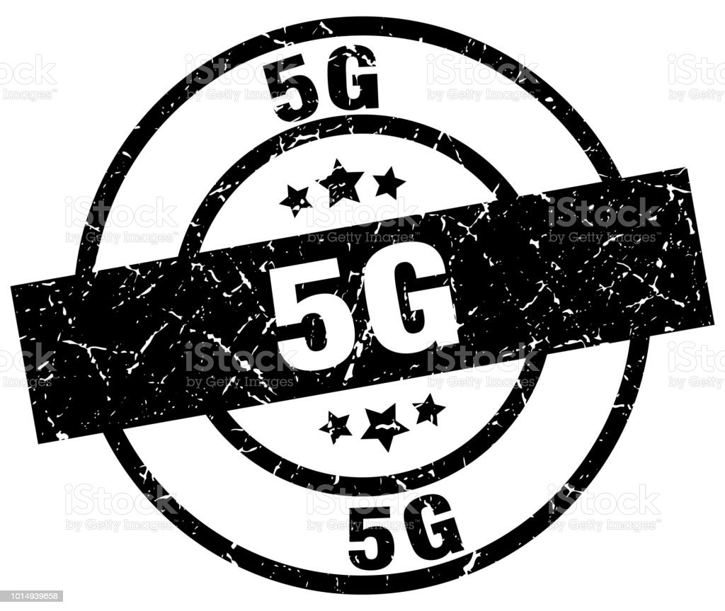 5g round grunge black stamp vector art illustration