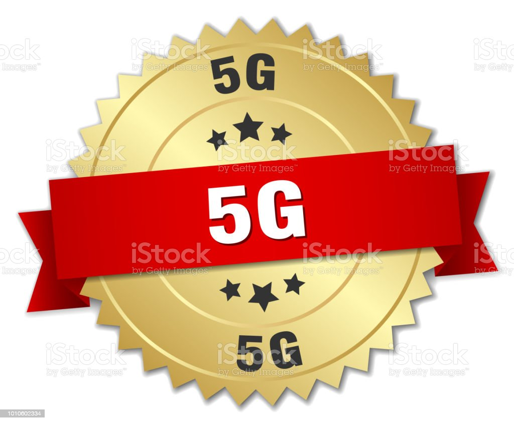 5g round isolated gold badge vector art illustration