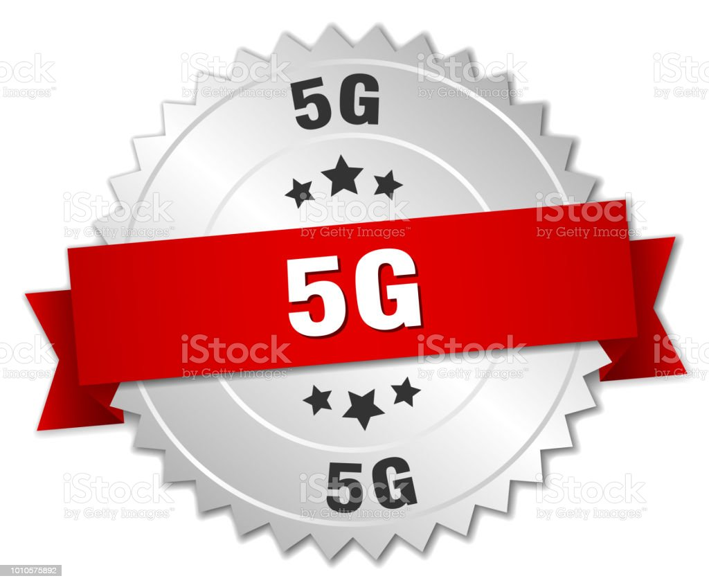 5g round isolated silver badge vector art illustration