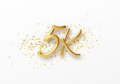 5k followers celebration design with Golden numbers, sparkling confetti and glitters. Realistic 3d festive illustration. Party event decoration. Vector illustration EPS10