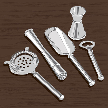 5pc sketch style stainless steel bar tool