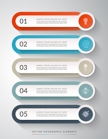 5-step process chart for infographics. Clean colorful vector template that can be used for diagram, chart, graph, web design.