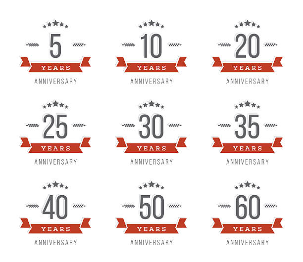 5th, 10th, 20th, 30th, 40th, 50th, 60th jubilee logotype. vector art illustration