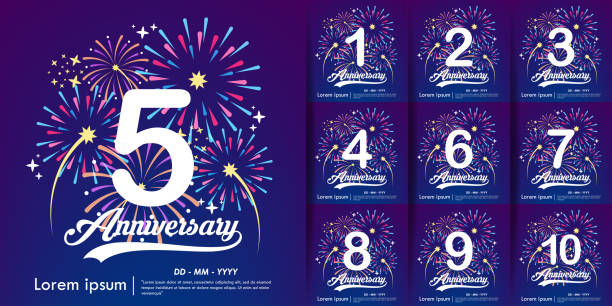 5th Anniversary and Set of white anniversary logo with colorful fireworks background. vector illustration template design for web, flyers, poster, celebration greeting card & invitation card 5th Anniversary and Set of white anniversary logo with colorful fireworks background. vector illustration template design for web, flyers, poster, celebration greeting card & invitation card anniversary stock illustrations