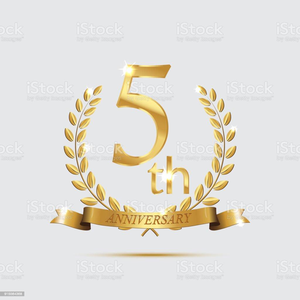 5th anniversary golden symbol golden laurel wreaths with ribbons 5th anniversary golden symbol golden laurel wreaths with ribbons and fifth anniversary year symbol on biocorpaavc Choice Image