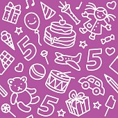 Happy birthday pattern with funny toys and number 5