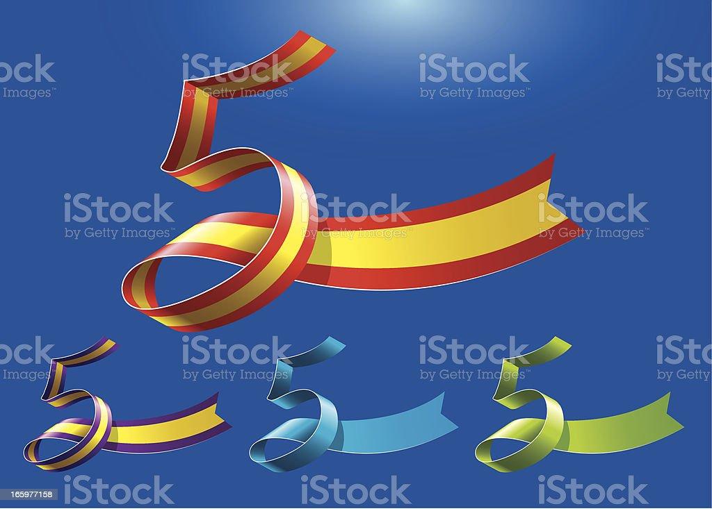 5th anniversary RibbonArt vector art illustration