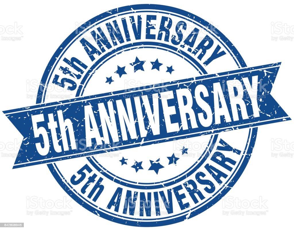5th anniversary round grunge ribbon stamp vector art illustration