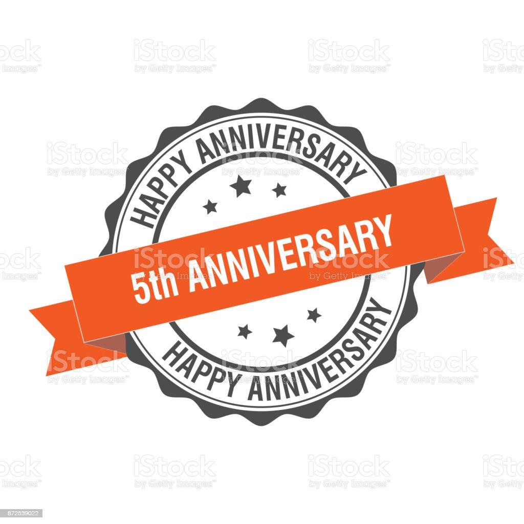 5th anniversary stamp illustration vector art illustration
