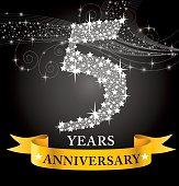 A vector illustration to show 5th Anniversary in black background