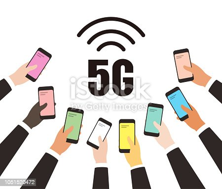5G 5th generation mobile network wireless icon, many hans holding smart phone