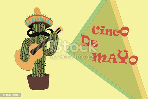 istock 5th may-Cinco de Mayo emblem design , and cheerful green Mexican cactus wearing sombrero, which playing guitar - symbols of holiday. Isolated  background. Vector illustration. 1280185843