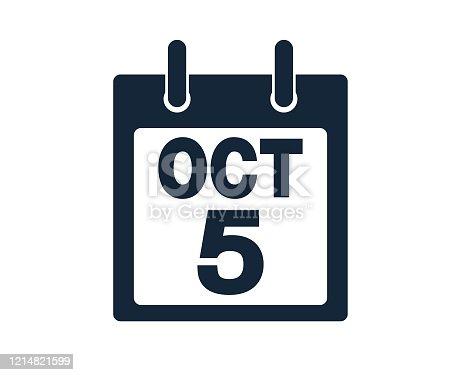 istock 5th October Calendar Icon Stock Vector Illustration 1214821599