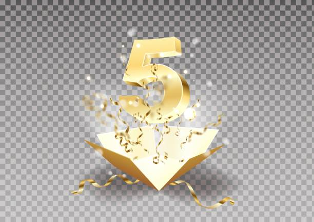 5th year anniversary room and open the gift box with explosions of confetti isolated design element. Template five the celebration of the fifth birthday on a transparent background vector. 5th year anniversary room and open the gift box with explosions of confetti isolated design element. Template five the celebration of the fifth birthday on a transparent background vector. five people stock illustrations