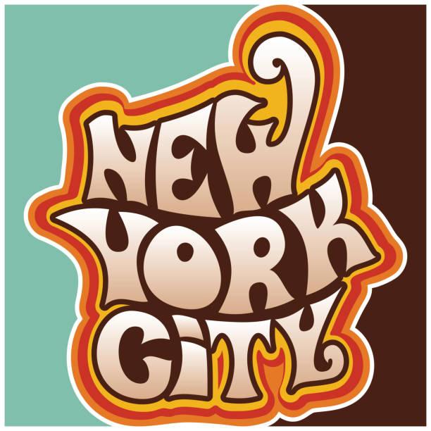 ilustrações de stock, clip art, desenhos animados e ícones de 60s 70s new york city funky lettering. - viagens anos 70