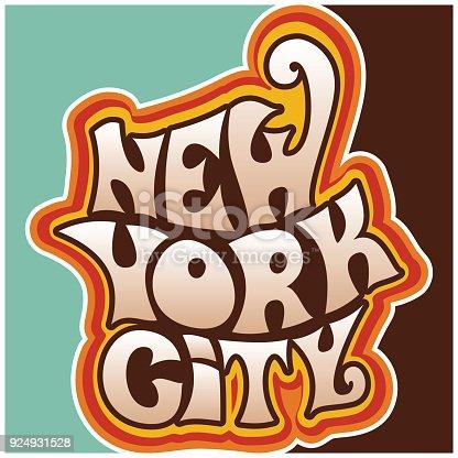 60er Jahre 70er Jahre Funky Schriftzug New York City Stock Vektor ...