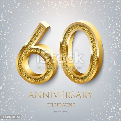 60th Anniversary Celebrating golden text and confetti on light blue background. Vector celebration 60 anniversary event template