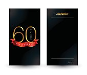 60th anniversary decorated invitation / greeting card template.