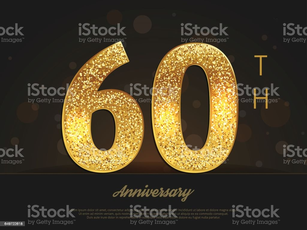 60th anniversary decorated invitation / greeting card template. vector art illustration