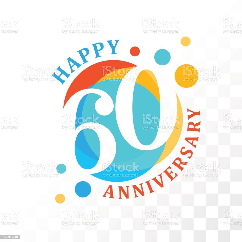 60th Anniversary emblem. vector art illustration