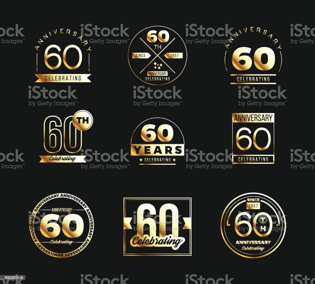 60th anniversary gold symbol type set. Jubilee banner. vector art illustration