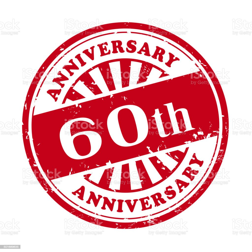 60th anniversary grunge rubber stamp vector art illustration