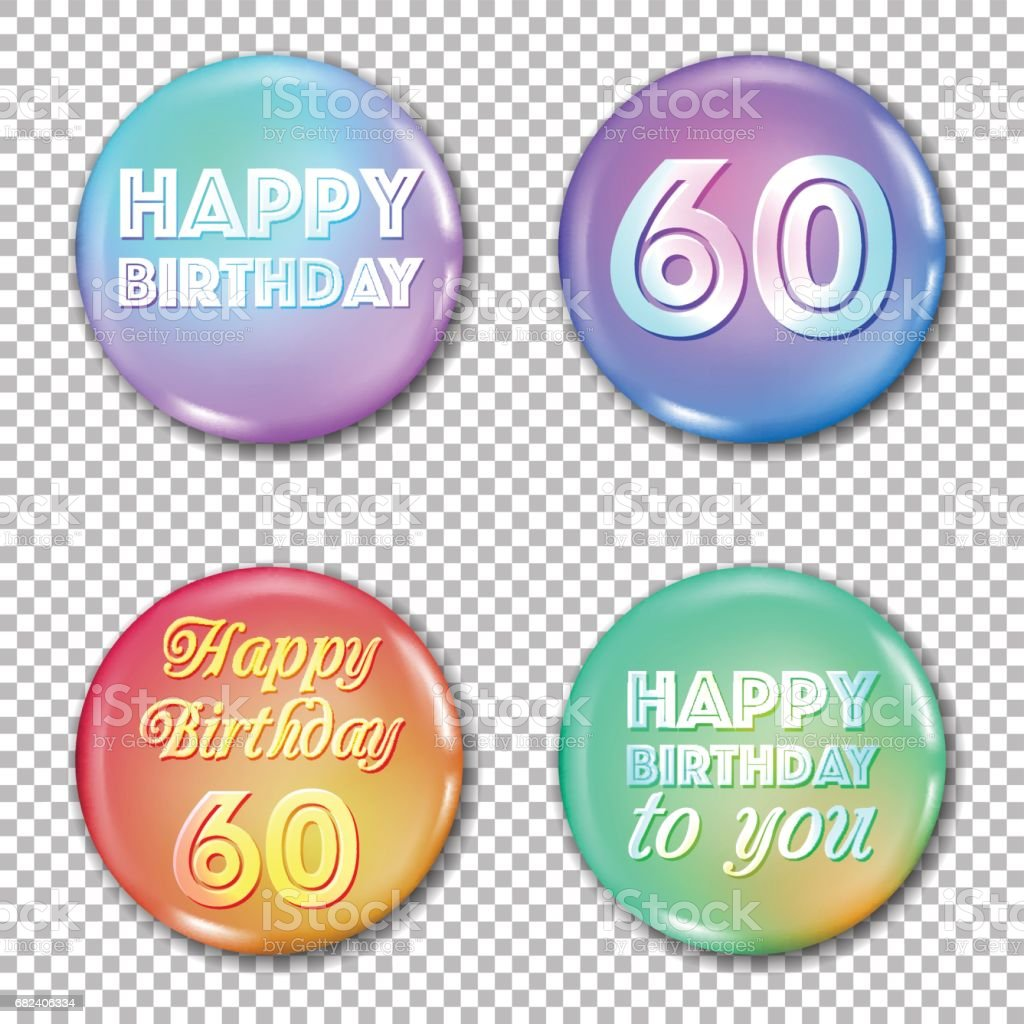 Download 60th Anniversary Icons Set Happy Birthday Labels Stock ...