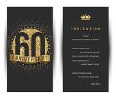 60th anniversary invitation card with golden logo.