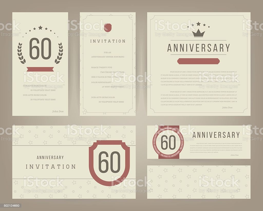 60th anniversary invitation cards template with logo's. Vintage vector illustration. vector art illustration