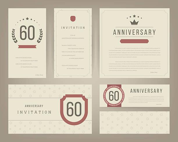 60th anniversary invitation cards template with logo's. Vintage vector illustration. vector art illustration