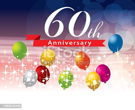 A vector illustration to show 60th anniversary in a flying balloon background