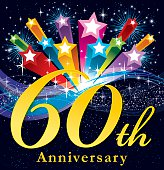 A vector illustration to show 60th Anniversary in a bursting star background