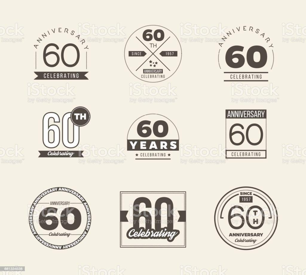 60th anniversary vintage symbol set. 60 years symbols. vector art illustration