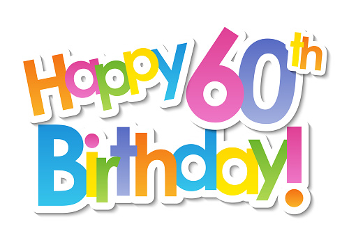 HAPPY 60th BIRTHDAY! colorful typography banner