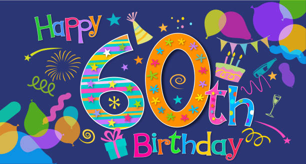 60th Birthday Greeting Vector Art Illustration