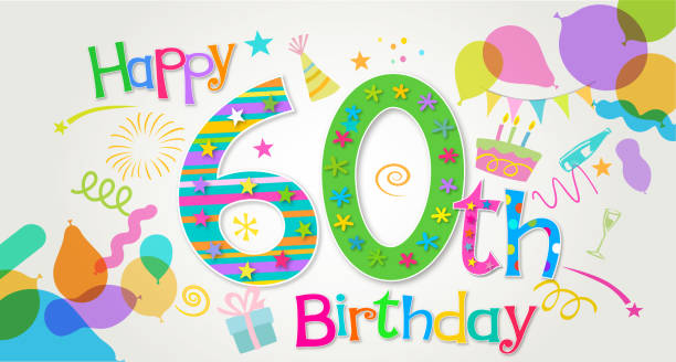 60th Birthday Greeting Vector Art Illustration