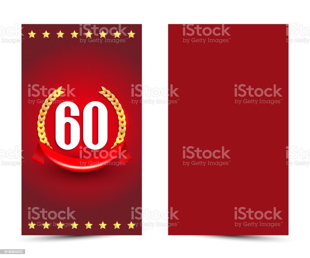 60th Bithday Decorated Card Template 60year Anniversary Invitation ...