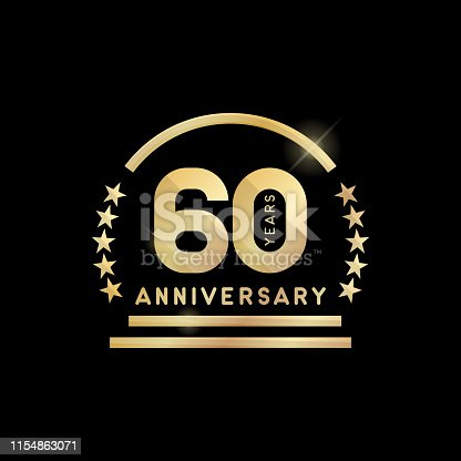 60th year anniversary golden emblem. Vector icon