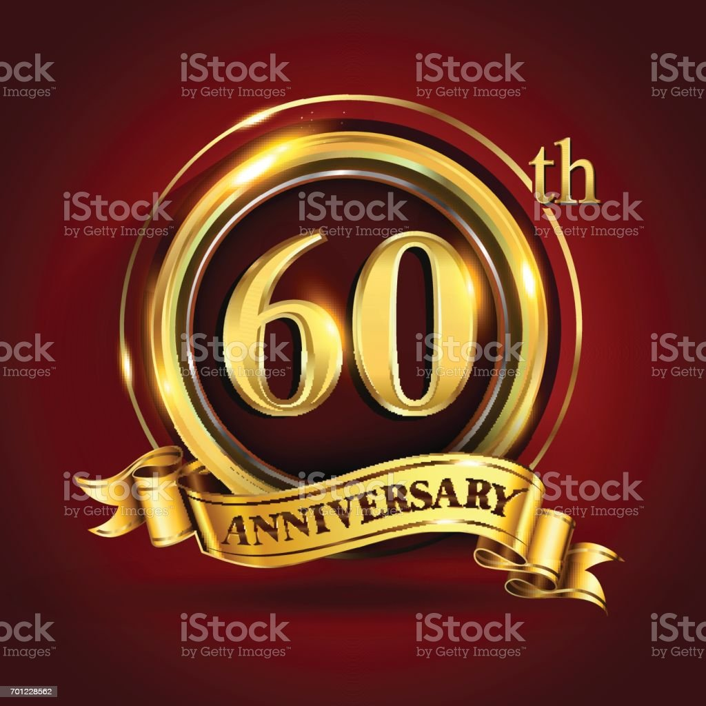 60th years anniversary logo with gold ring and golden ribbon, vector design vector art illustration
