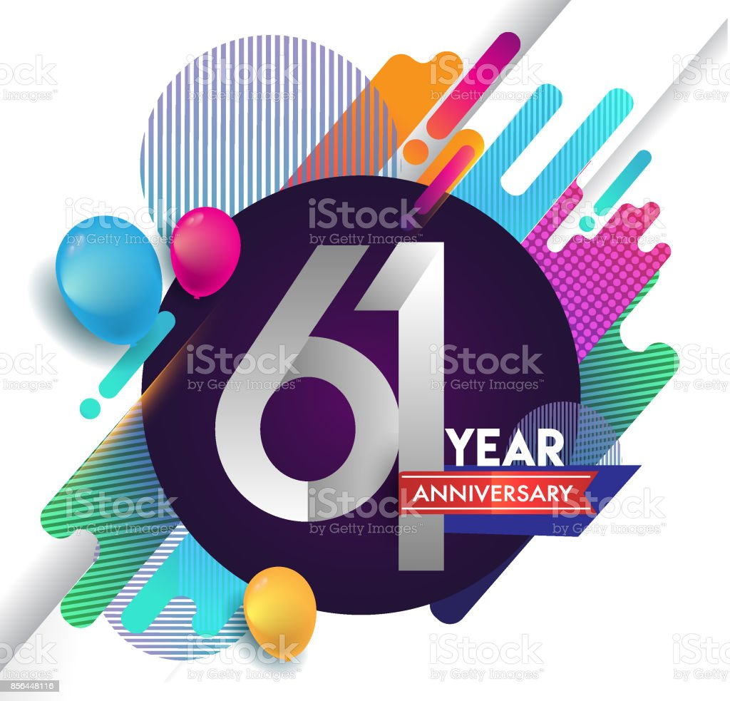 61st years Anniversary icon with colorful abstract background, vector design template elements for invitation card and poster your birthday celebration. vector art illustration