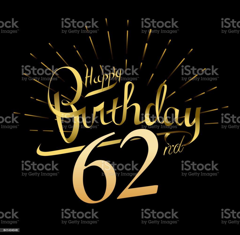 62nd happy birthday design beautiful greeting card poster with 62nd happy birthday design beautiful greeting card poster with calligraphy word gold fireworks hand m4hsunfo