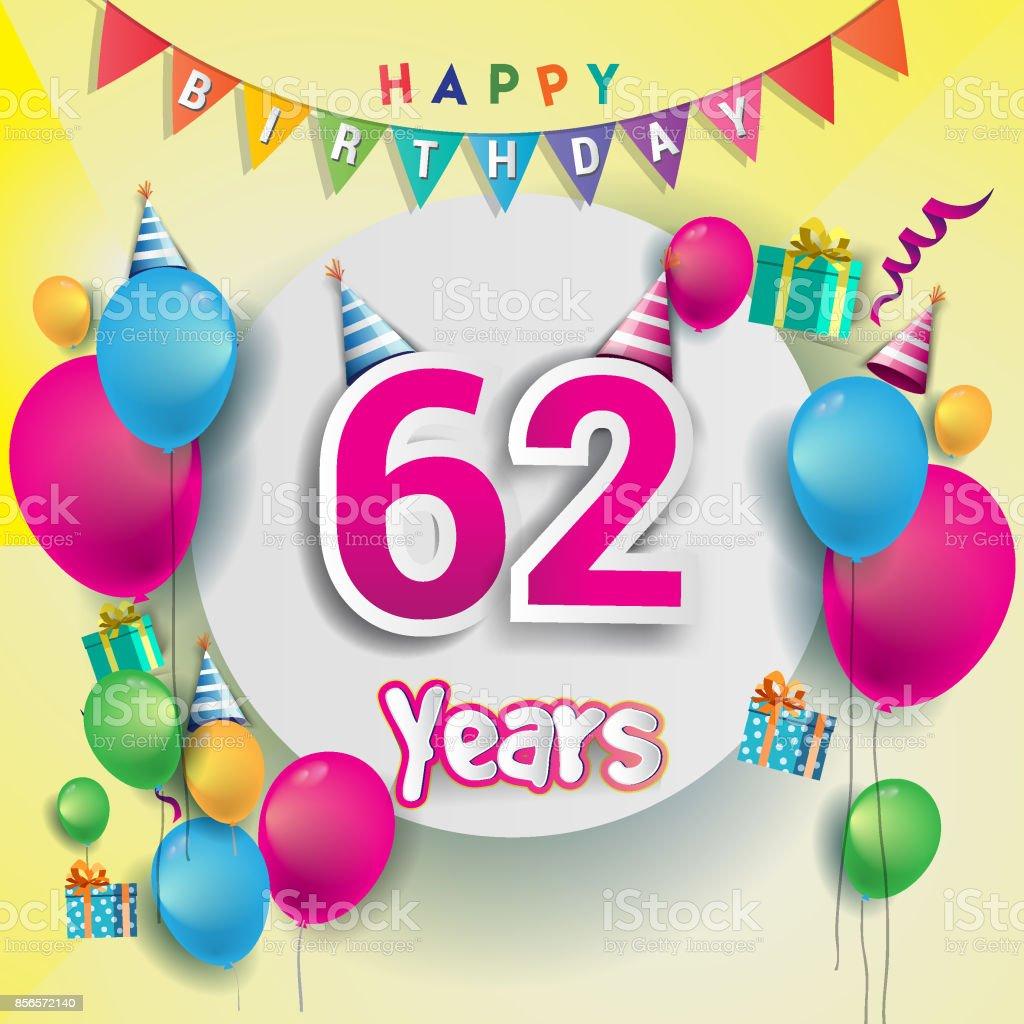 62nd years anniversary celebration birthday card or greeting card 62nd years anniversary celebration birthday card or greeting card design with gift box and balloons m4hsunfo