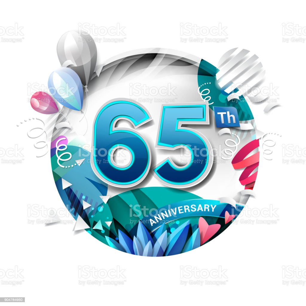 65th anniversary background with balloon and confetti on white. 3D paper style illustration. Poster or brochure template. Vector illustration. vector art illustration