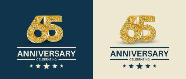 65th Anniversary celebrating cards template. 65 - year jubilee banner. vector art illustration