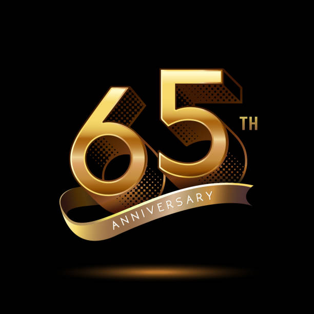 65th Anniversary celebration logotype colored with shiny gold, using ribbon and isolated on black background vector art illustration