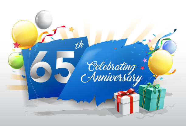 65th anniversary celebration with colorful confetti and balloon on blue background with shiny elements. design template for your birthday party. vector art illustration
