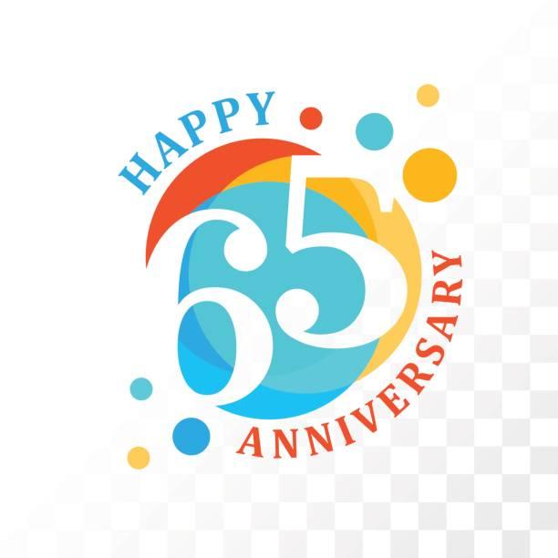 65th Anniversary emblem. vector art illustration