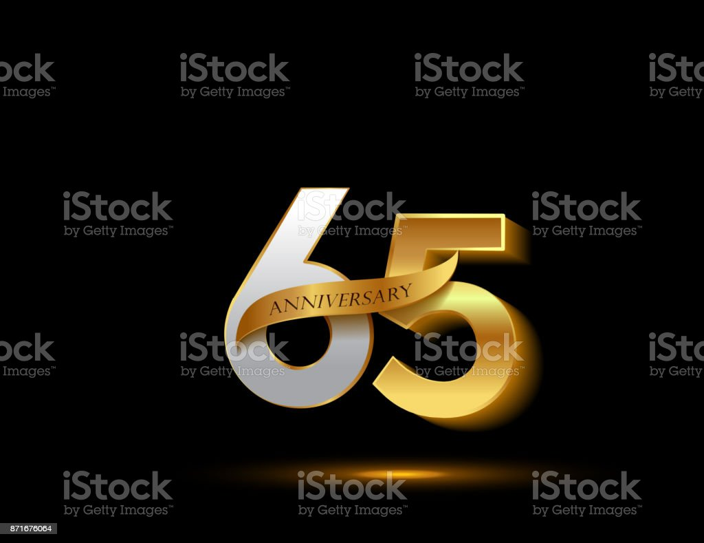65th anniversary glowing logotype with ribbon golden colored isolated on dark background, vector design for greeting card and invitation card. vector art illustration