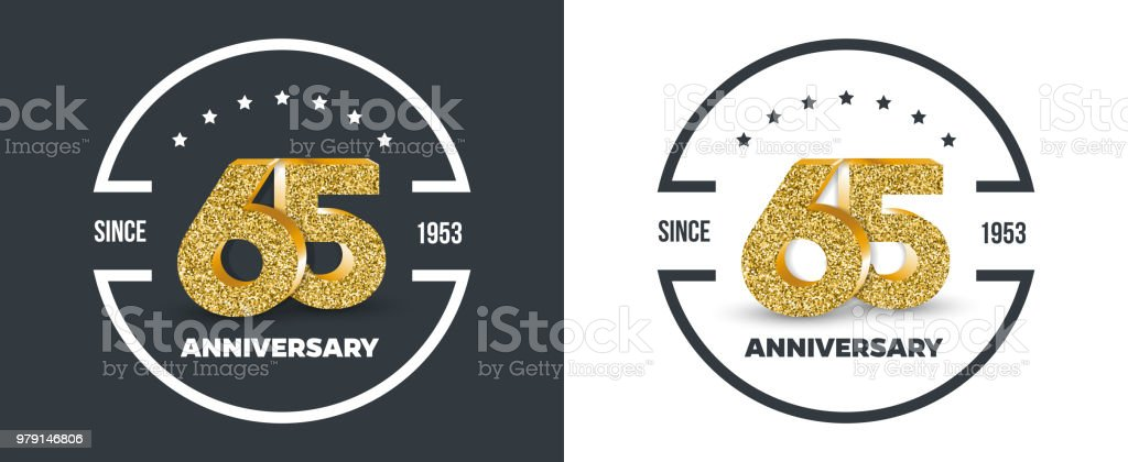 65th Anniversary gold colored logo on dark and white background. 65 - year jubilee banner. vector art illustration