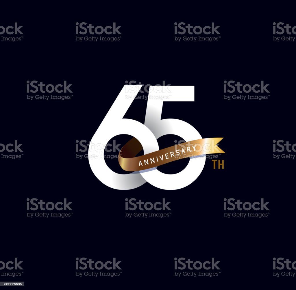 65th anniversary icon with gold ribbon. template design for web, game ,Creative poster, booklet, leaflet, flyer, magazine, invitation card vector art illustration